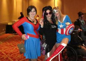 (L-R) Tricia, Me and Heather, otherwise known as Spidergirl, Super Jersey Girl and Captain America